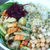 SPINACH CHICKPEA SALAD WITH ROASTED VEGETABLES