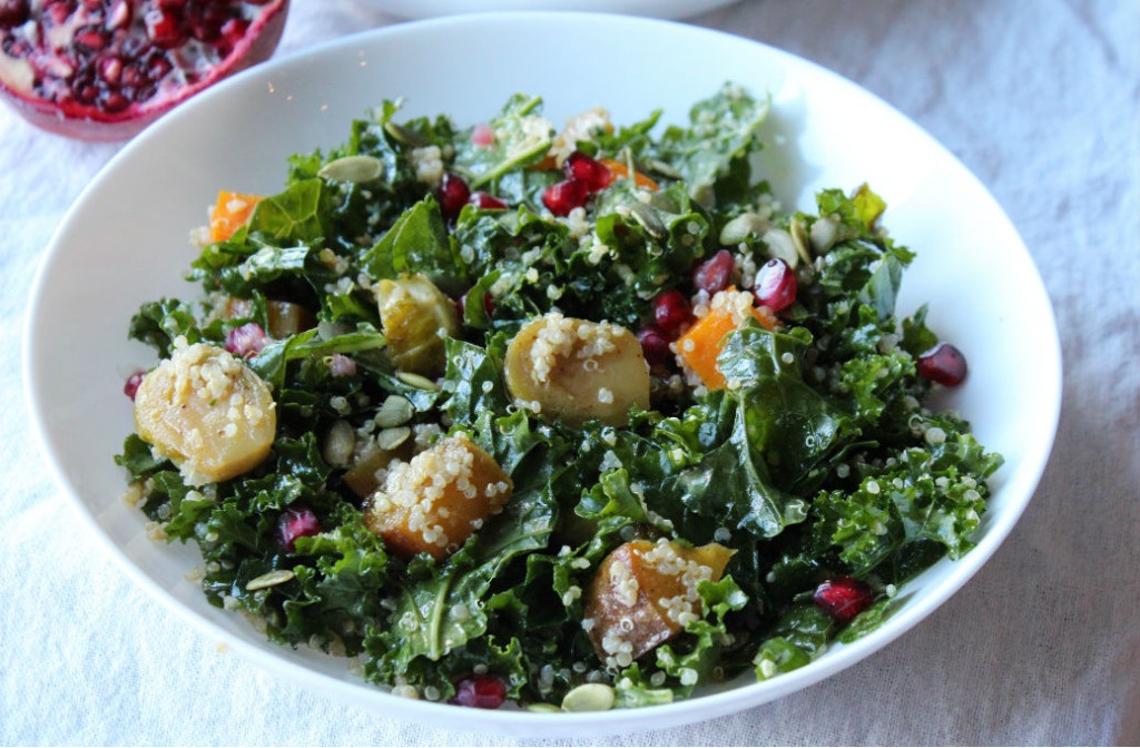 Kale Winter Salad with Maple Balsamaic dressing - Zest Nutrition