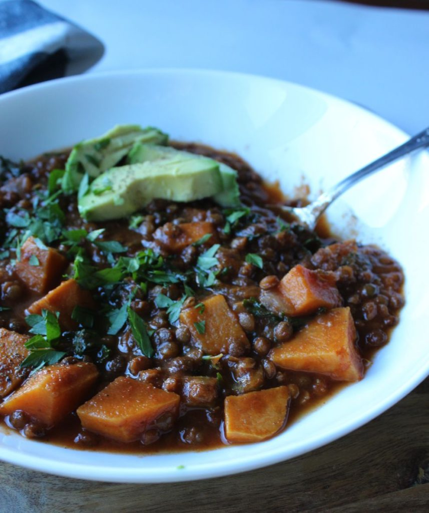 delicious and hearty lentil sweet potato stew