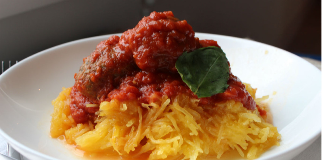 Spaghetti Squash with Turkey Pesto Meatballs - Zest Nutrition