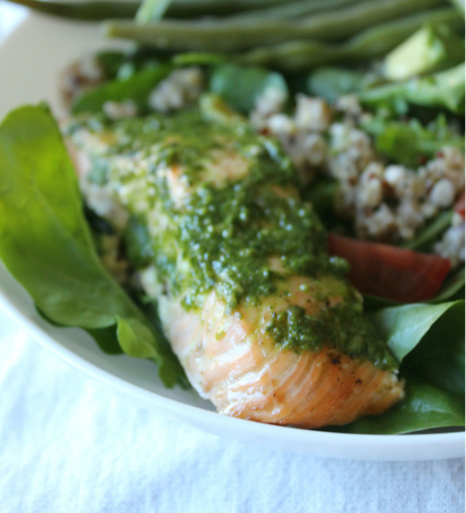 salmon arugula pesto
